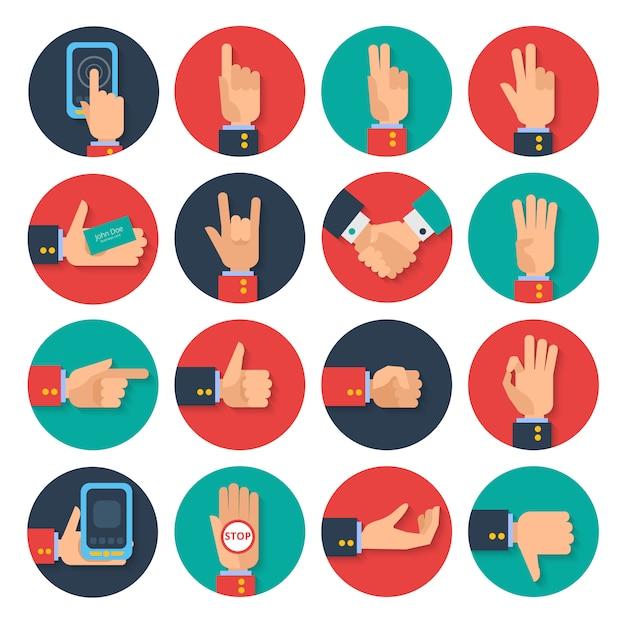 Iconos de manos conjunto plano vector gratuito