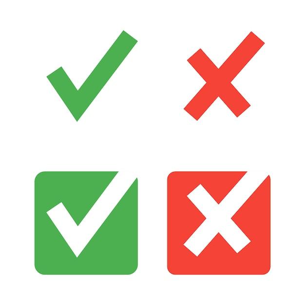 Iconos de marca de verificación plana Vector Premium