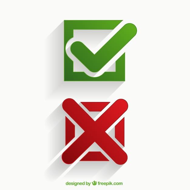 Iconos de marcas de verificación vector gratuito