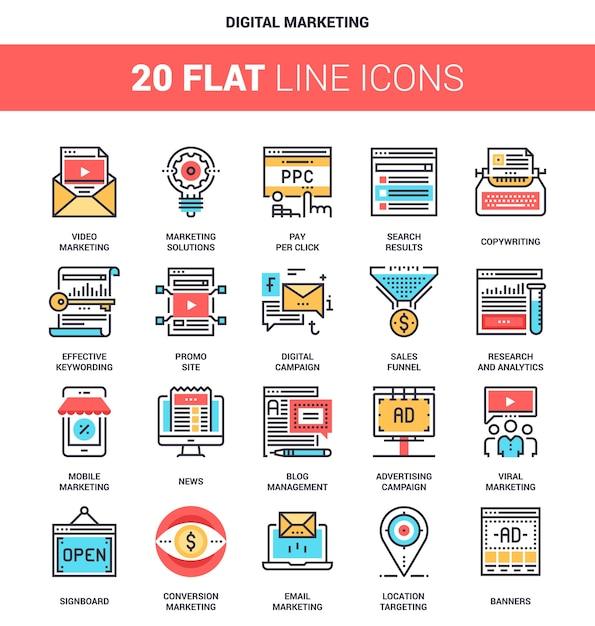 Iconos de marketing digital | Vector Premium