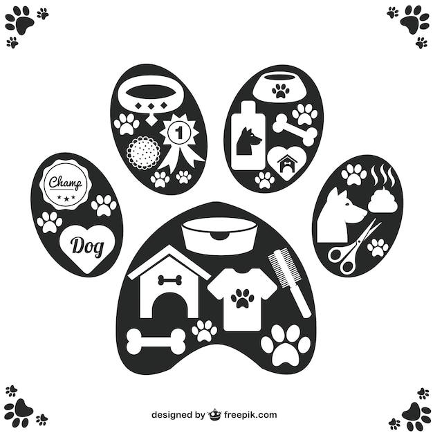 Iconos de mascotas Vector Premium