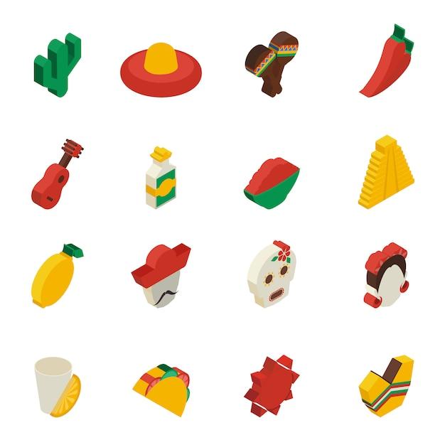 Iconos mexicanos isométricos vector gratuito