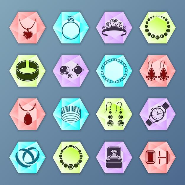 Iconos de moda accesorios de joyería hexagonal conjunto aislado vector gratuito