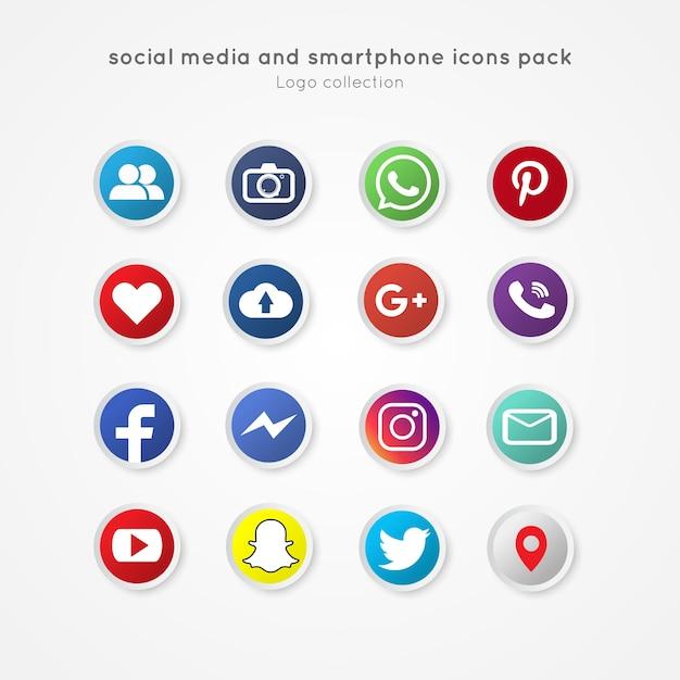 Los iconos modernos de redes sociales y smartphone paquete estilo de botón de círculo Vector Premium