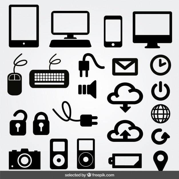 Iconos monocromáticos de internet vector gratuito