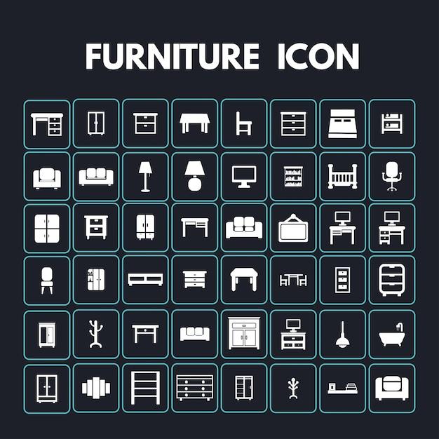 Iconos de muebles vector gratuito