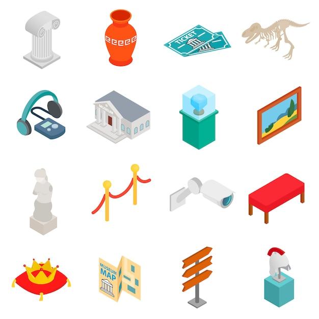 Iconos del museo en estilo isométrico 3d sobre fondo blanco Vector Premium