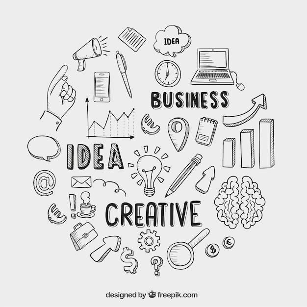 Iconos de negocios dibujados a mano vector gratuito
