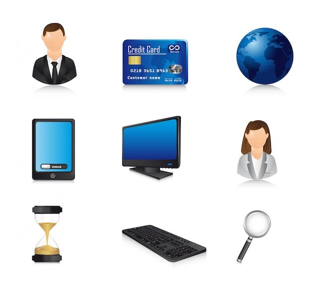 Iconos de negocios con sombra sobre vector de fondo blanco Vector Premium