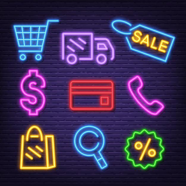 Iconos de neón de compras Vector Premium