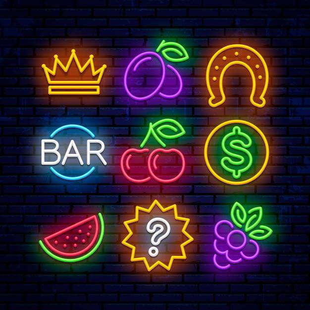 Iconos de neón de juegos para casino. letreros para máquinas tragamonedas. Vector Premium