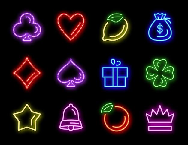 Iconos de neón de máquinas tragamonedas para juegos de casino vector gratuito