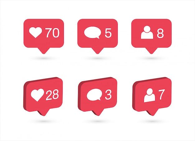 Iconos de notificaciones de redes sociales. me gusta, comenta, sigue el ícono. Vector Premium