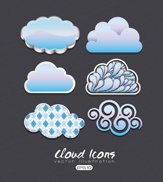 Iconos de nube Vector Premium