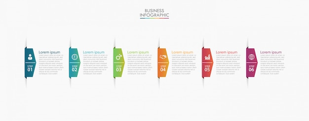 Iconos de paso de infografía de datos de negocios Vector Premium