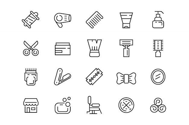 Iconos de peluquería Vector Premium