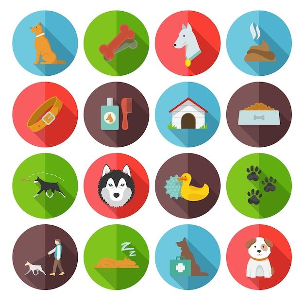 Iconos de perro planos vector gratuito