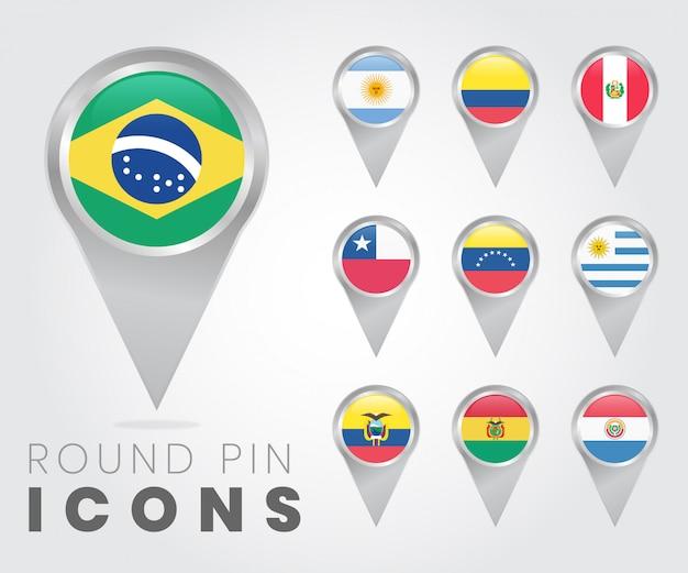 Iconos de pin redondo de banderas de américa del sur Vector Premium