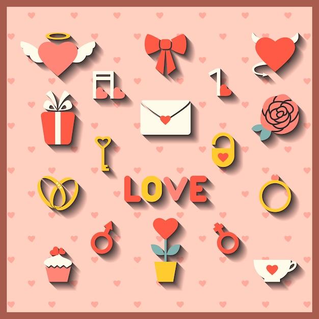Iconos planos para boda o el día de san valentín. Vector Premium