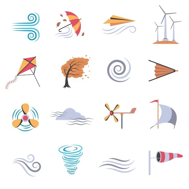 Iconos planos de colores de viento vector gratuito