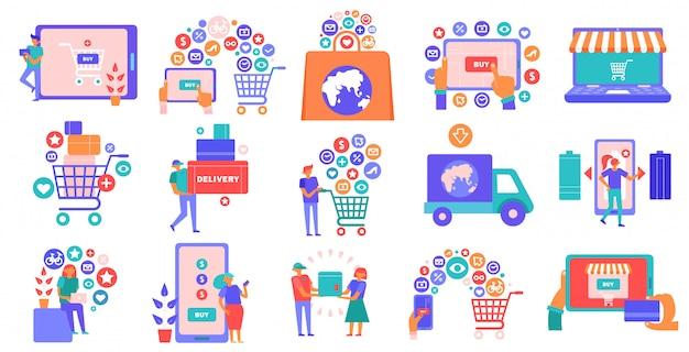 Iconos planos de comercio electrónico de compras en línea con teléfono inteligente tableta portátil cesta pago con tarjeta de crédito vector gratuito
