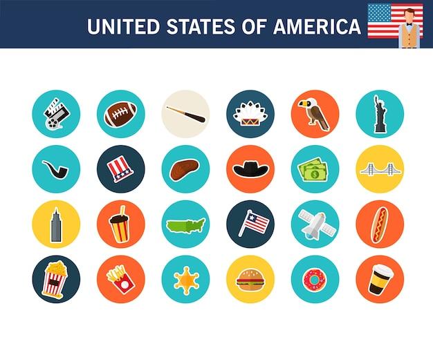 Iconos planos del concepto de estados unidos de américa Vector Premium