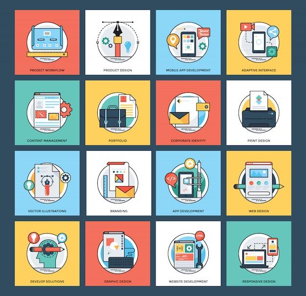 Iconos planos de desarrollo web y móvil Vector Premium