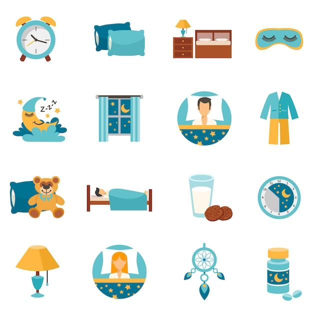 Iconos planos para dormir vector gratuito