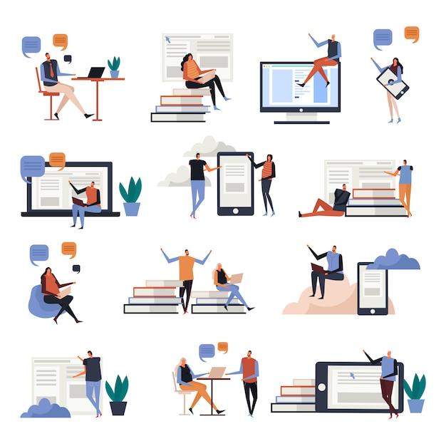 Iconos planos de educación en línea vector gratuito