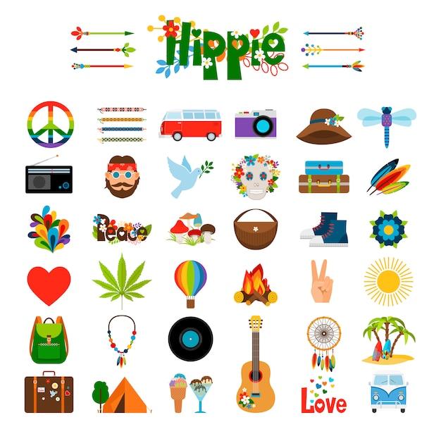 Iconos planos hippie Vector Premium
