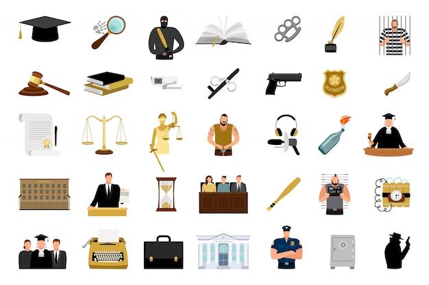 Iconos planos de justicia Vector Premium