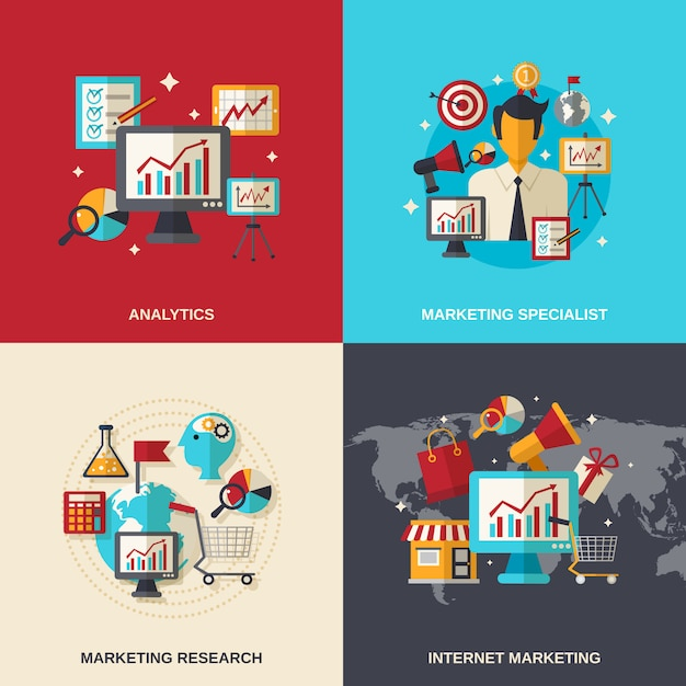Iconos planos de marketing vector gratuito