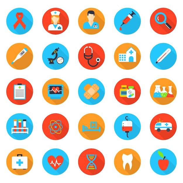 Iconos planos de medicina y salud. hospital y salud, emergencia y auxilio, médico y farmacia vector gratuito