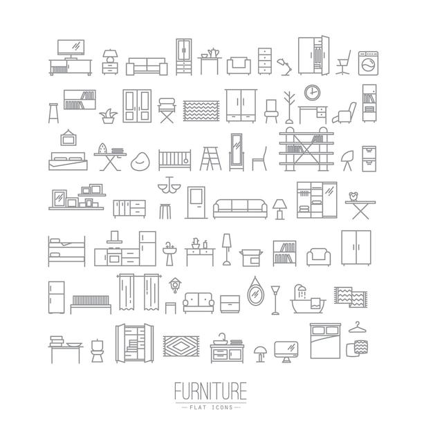 Iconos planos de muebles gris Vector Premium
