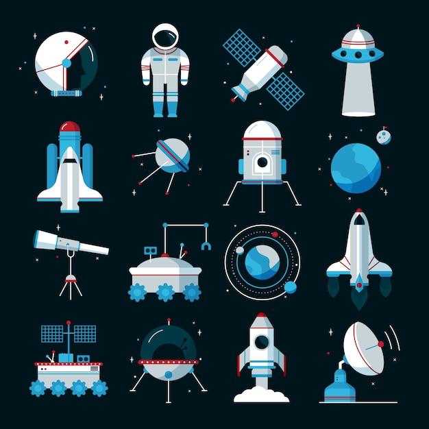Iconos planos de naves espaciales con traje espacial y equipo cosmonauta. vector gratuito