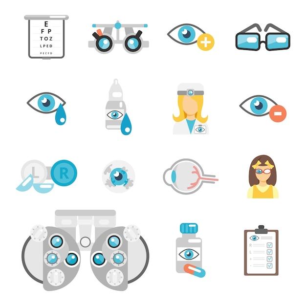 Iconos planos de oculista vector gratuito