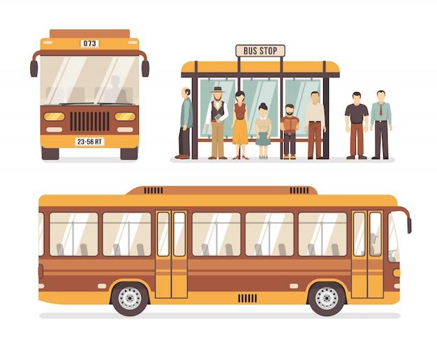 Iconos planos de la parada de autobús de la ciudad vector gratuito