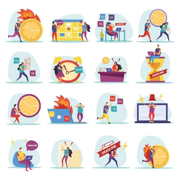 Iconos planos de plazo con personajes humanos apresurados y preocupados durante el trabajo aislado vector gratuito