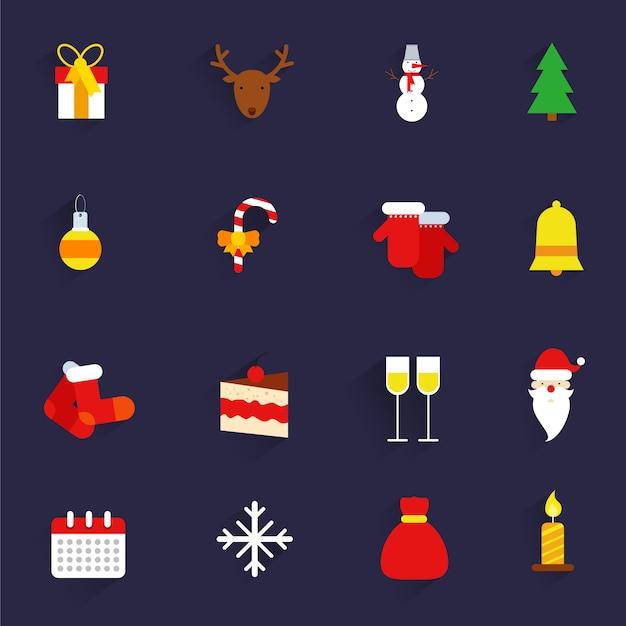 Los iconos planos de los regalos de vacaciones del año nuevo de navidad fijaron el ejemplo aislado del vector Vector Premium