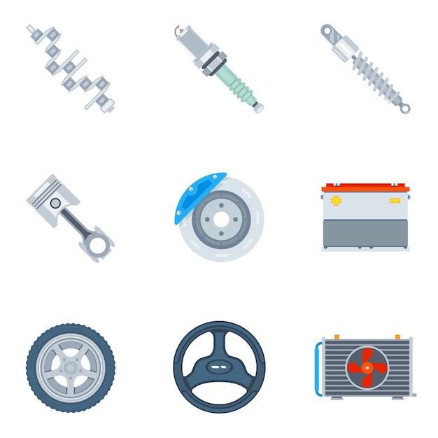 Iconos planos de repuestos de coche. herramienta y reparación, motor de diseño y vector de ilustración de rueda vector gratuito