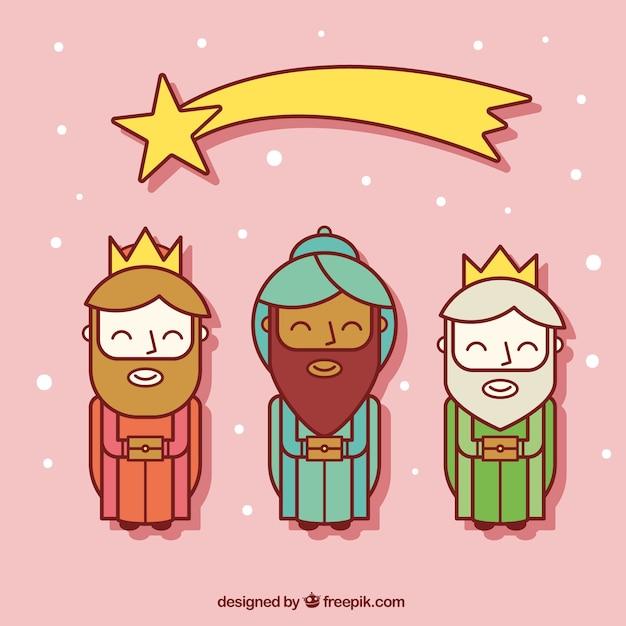 Iconos Planos De Los Tres Reyes Magos Con Estrella Fugaz Descargar