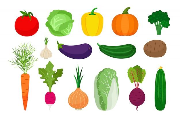 Iconos planos de verduras en blanco Vector Premium