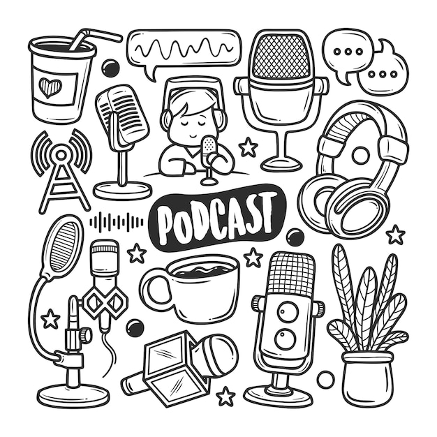 Iconos de podcast dibujado a mano doodle para colorear Vector Premium