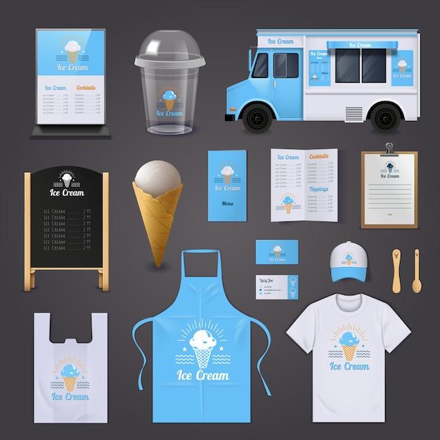 Los iconos realistas de la identidad corporativa del helado fijados con el menú del delantal y la furgoneta aislaron el vector illustrati vector gratuito