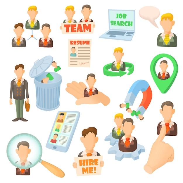 Iconos de recursos humanos establecidos en estilo de dibujos animados Vector Premium