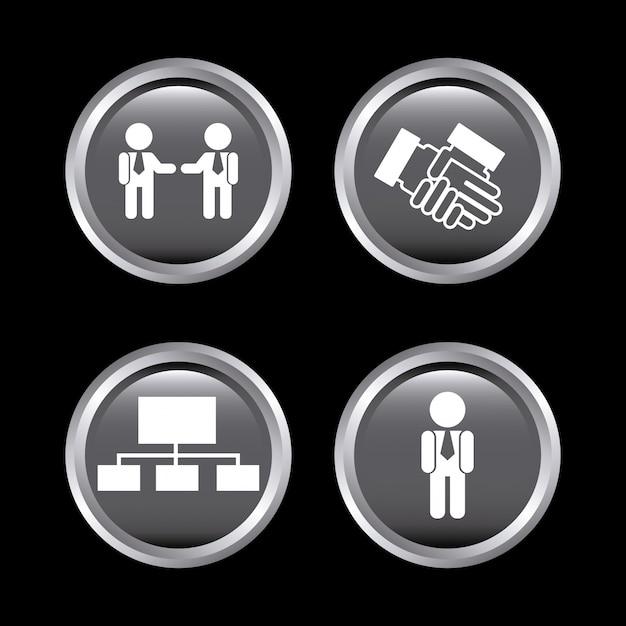 Iconos de recursos humanos sobre negro vector gratuito
