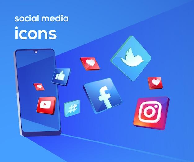 Iconos de redes sociales 3d con símbolo de teléfono inteligente Vector Premium