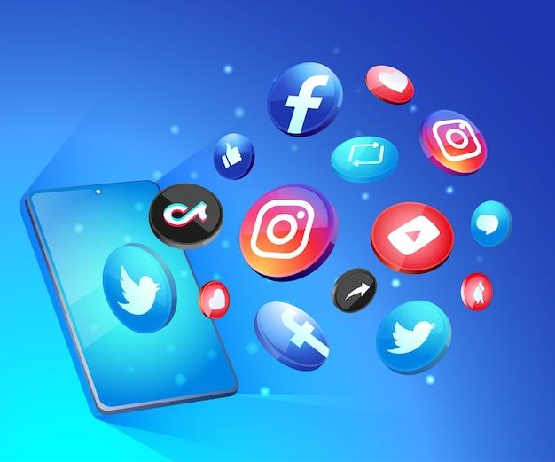 Iconos de redes sociales 3d con smartphone Vector Premium
