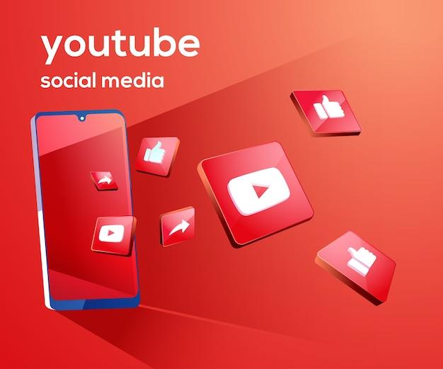 Iconos de redes sociales 3d de youtube con símbolo de teléfono inteligente Vector Premium