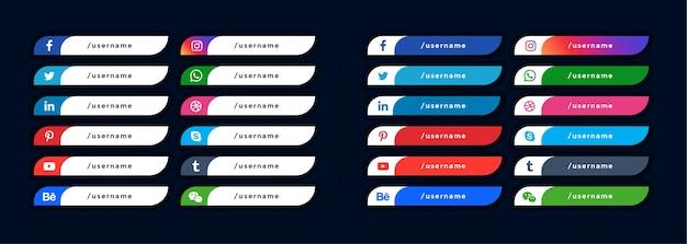 Los iconos de redes sociales bajan el tercer tercer banner vector gratuito